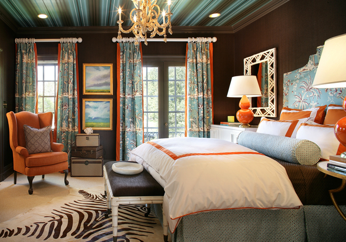 Genevieve gorder charlie peace for Brown and turquoise bedroom designs